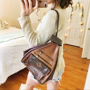 Bohemian vegan leather traveler backpack